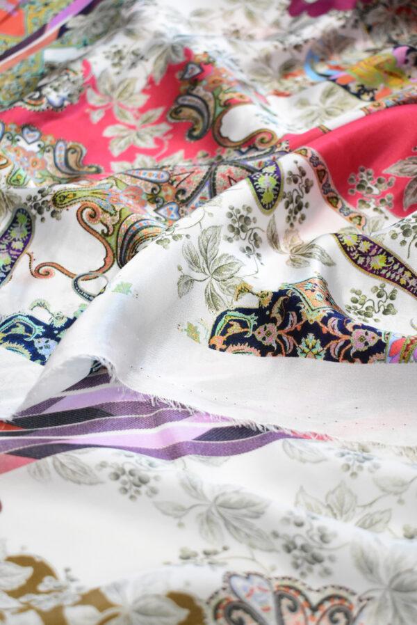 Шармез шелк с цветами пейсли и геометрией (9523) - Фото 8