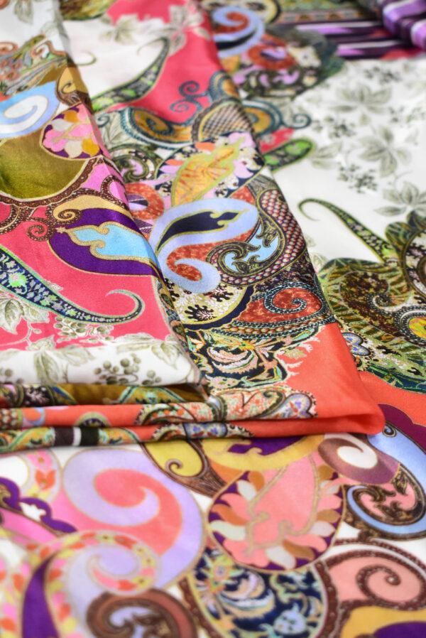 Шармез шелк с цветами пейсли и геометрией (9523) - Фото 9
