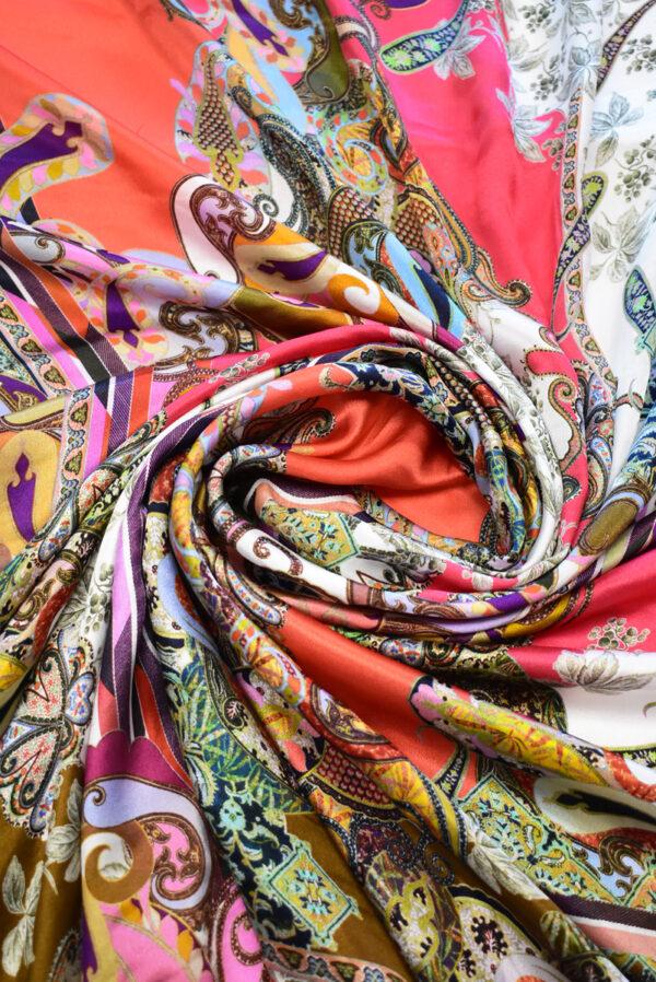 Шармез шелк с цветами пейсли и геометрией (9523) - Фото 7