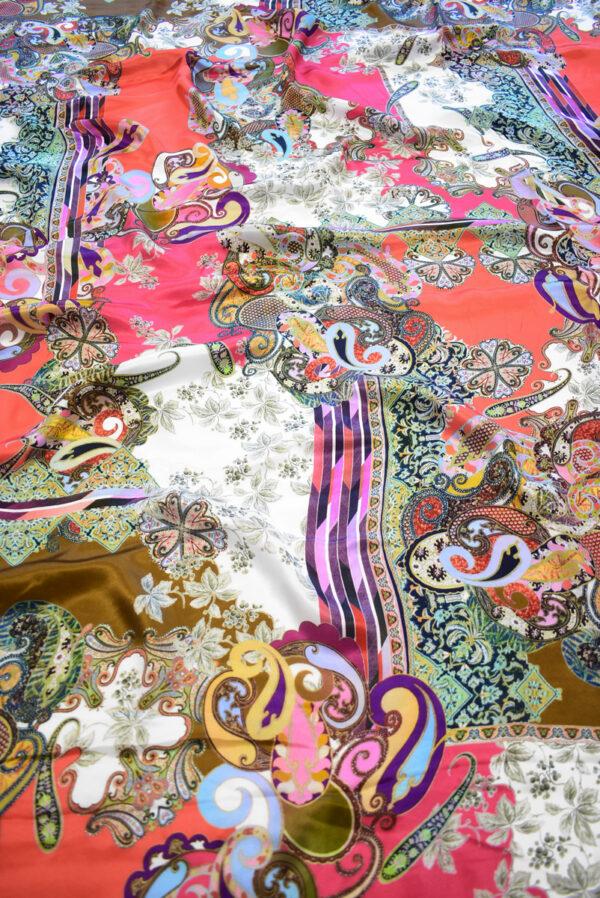Шармез шелк с цветами пейсли и геометрией (9523) - Фото 6