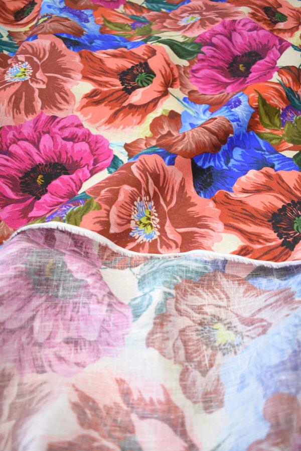 Лен с разноцветными маками (9572) - Фото 8