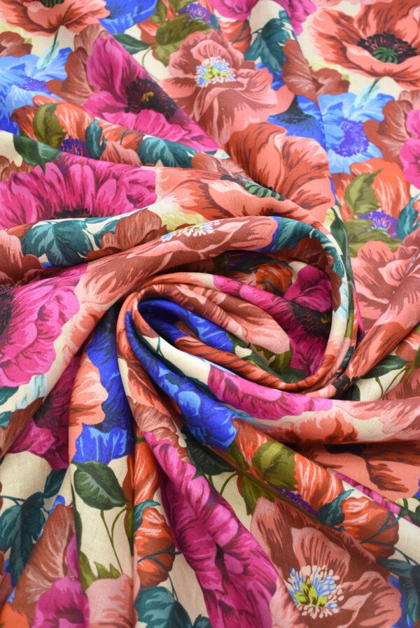 Лен с разноцветными маками (9572) - Фото 9