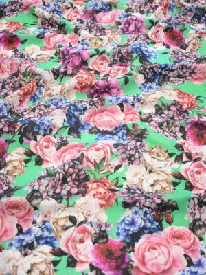 Лен зеленого оттенка с цветами (9590) - Фото 18