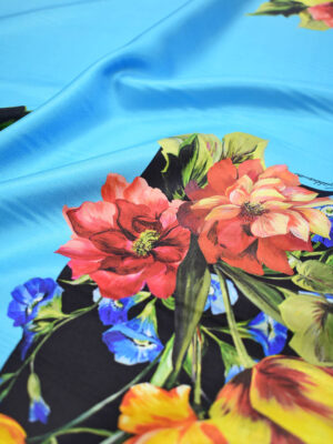 Шелк с купоном голубой фон цветы (9003) - Фото 13
