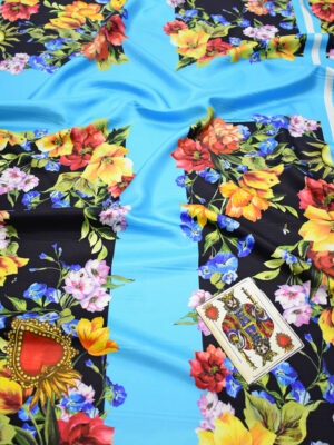 Шелк с купоном голубой фон цветы (9003) - Фото 12