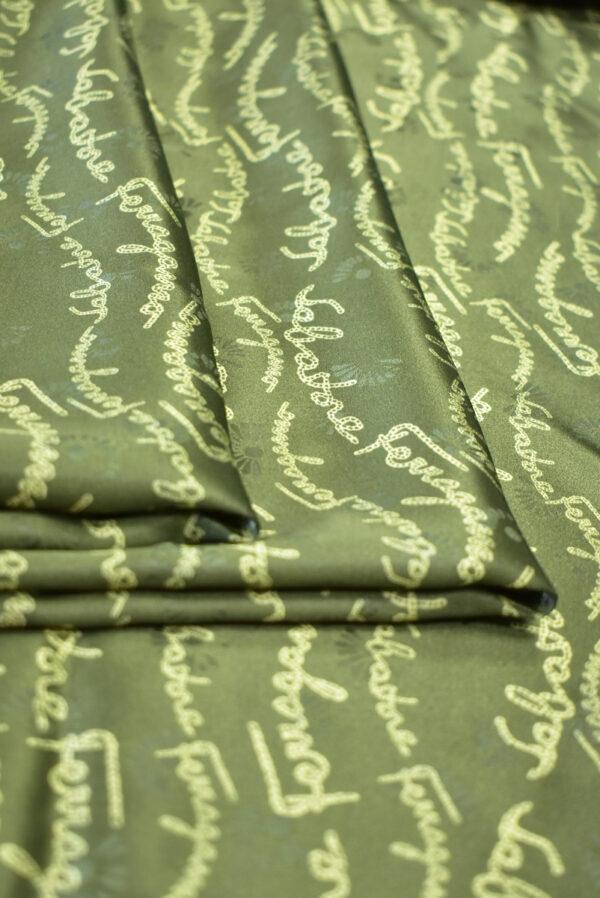 Шелк атласный оливковый с надписями (9410) - Фото 10