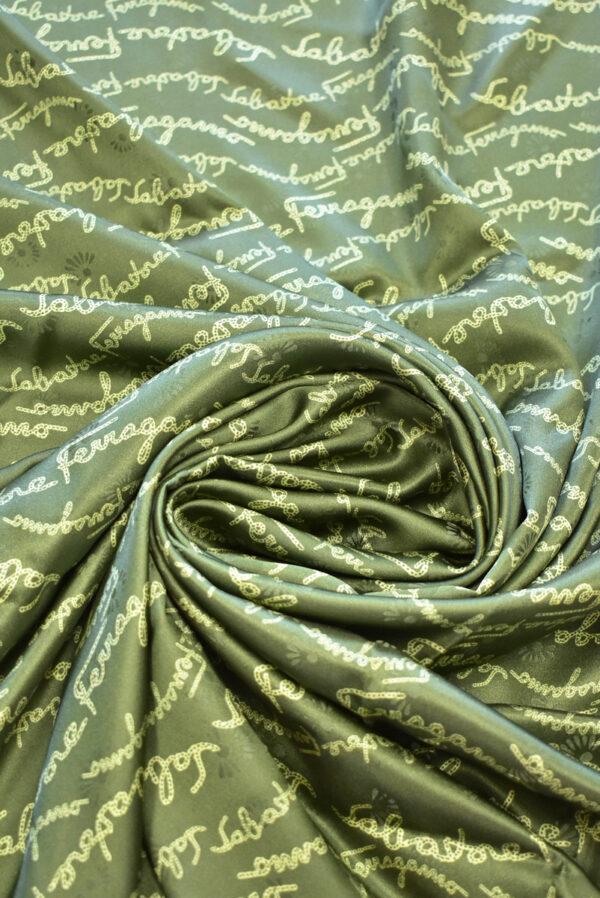 Шелк атласный оливковый с надписями (9410) - Фото 8