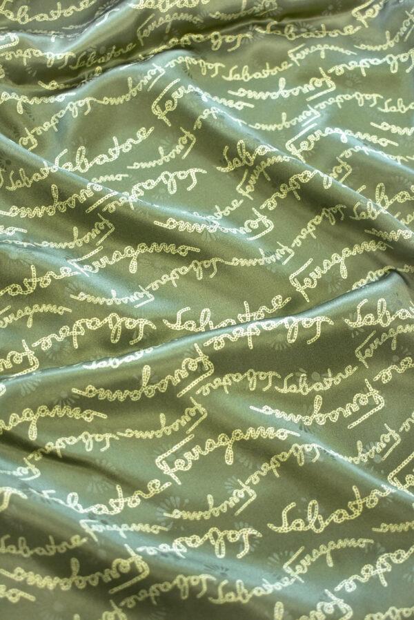Шелк атласный оливковый с надписями (9410) - Фото 6