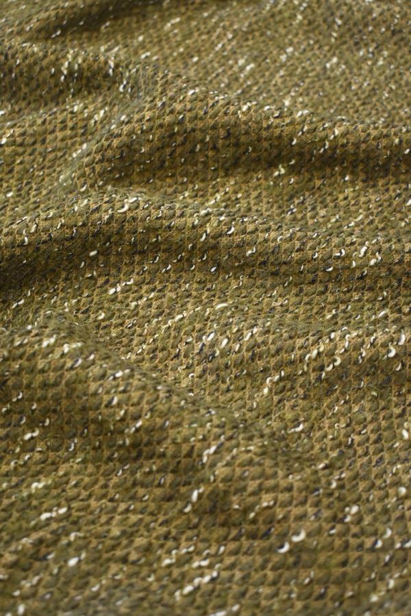 Букле шерсть оливкового оттенка (9611) - Фото 6