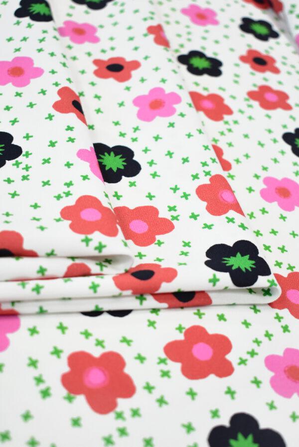 Креп белый с цветочками (9632) - Фото 9