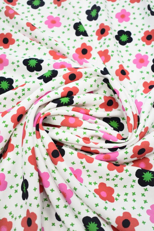 Креп белый с цветочками (9632) - Фото 8