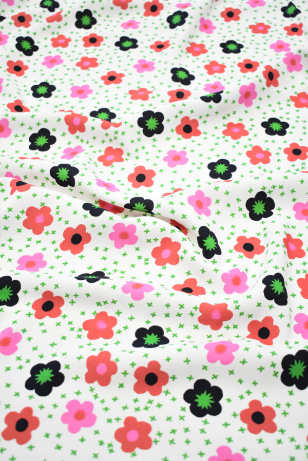 Креп белый с цветочками (9632) - Фото 6