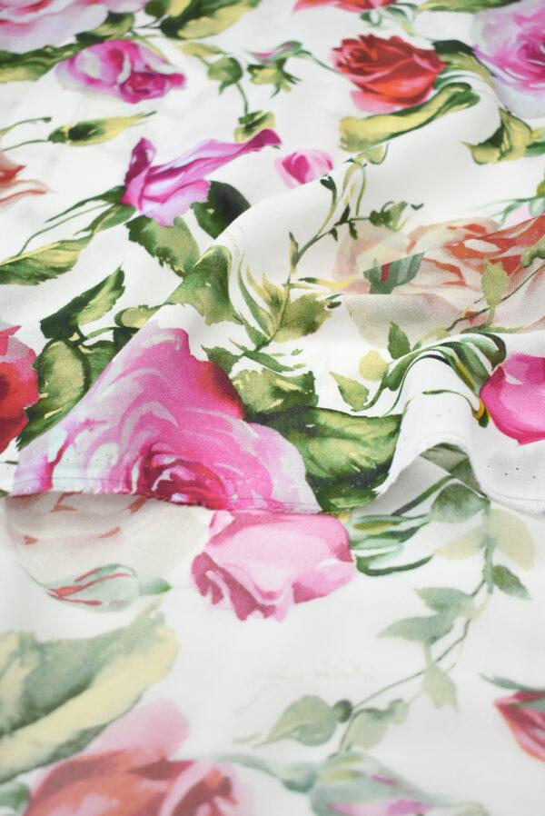 Креп белый с акварельными розами (9638) - Фото 10