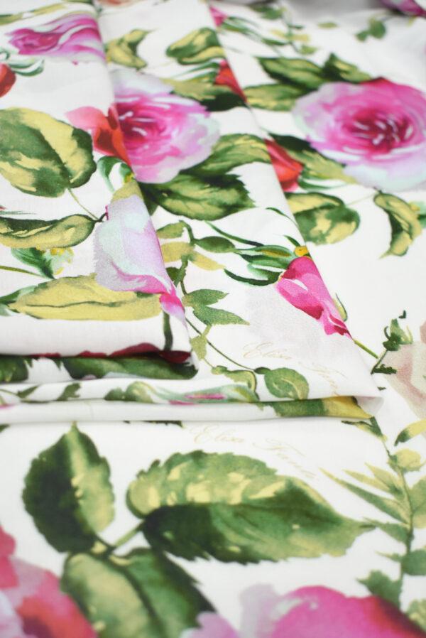 Креп белый с акварельными розами (9638) - Фото 8