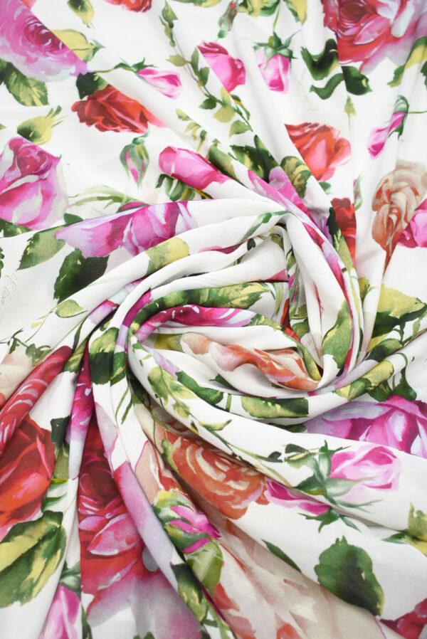Креп белый с акварельными розами (9638) - Фото 9