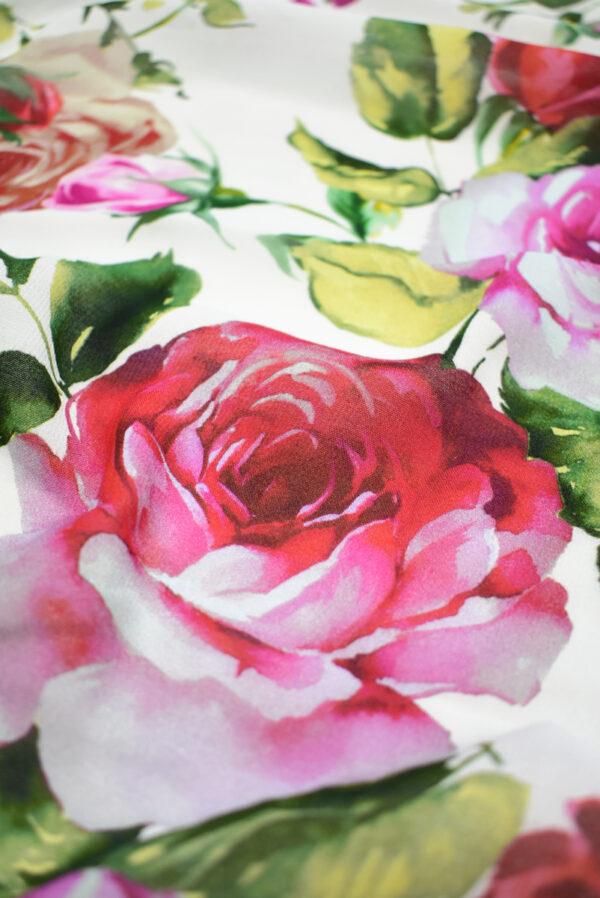 Креп белый с акварельными розами (9638) - Фото 11
