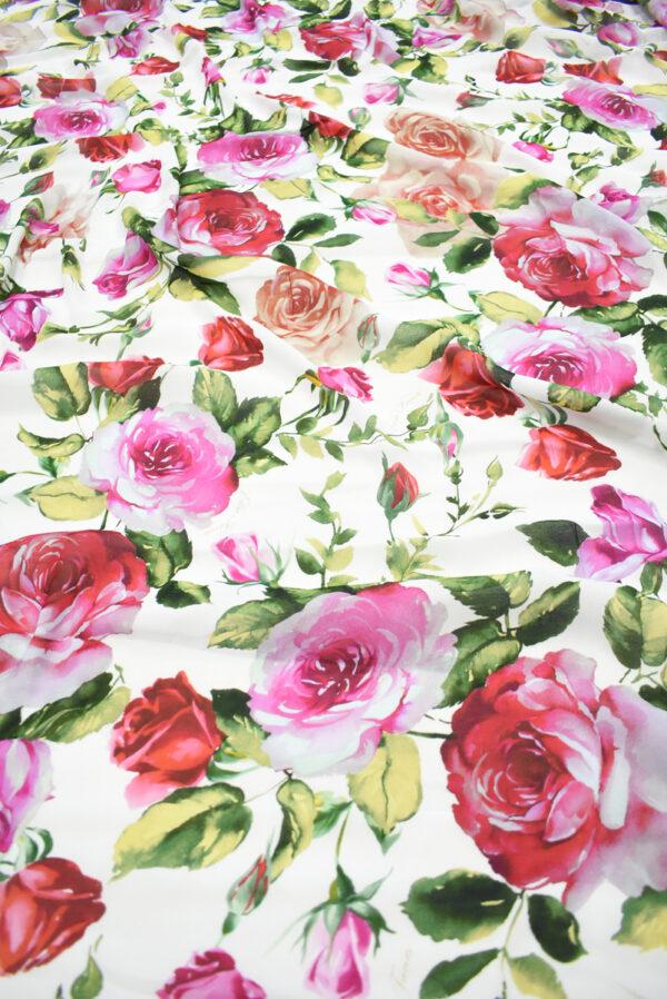 Креп белый с акварельными розами (9638) - Фото 6