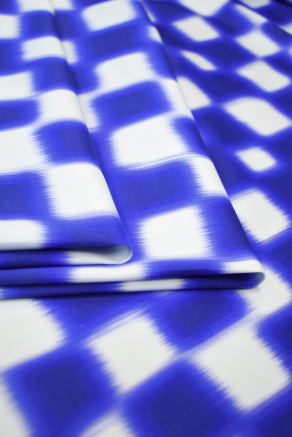 Сатин стрейч белый с синей размытой клеткой (9639) - Фото 9