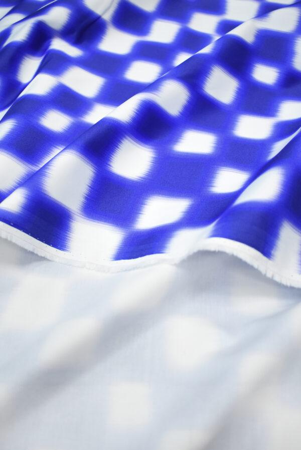 Сатин стрейч белый с синей размытой клеткой (9639) - Фото 10