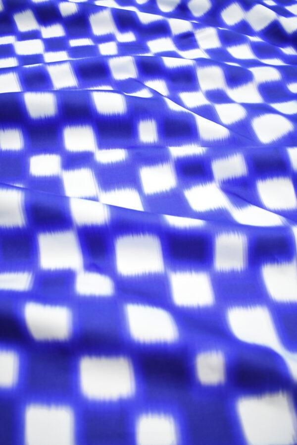 Сатин стрейч белый с синей размытой клеткой (9639) - Фото 6