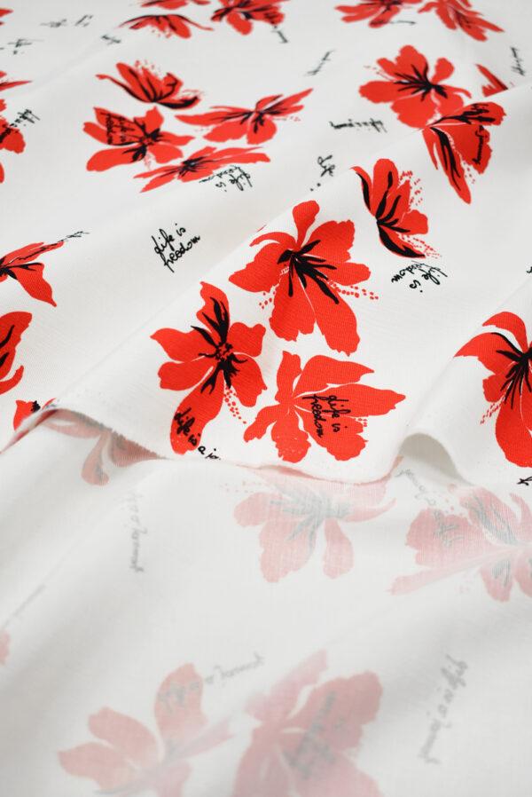 Репс стрейч белый с красными цветами (9644) - Фото 10