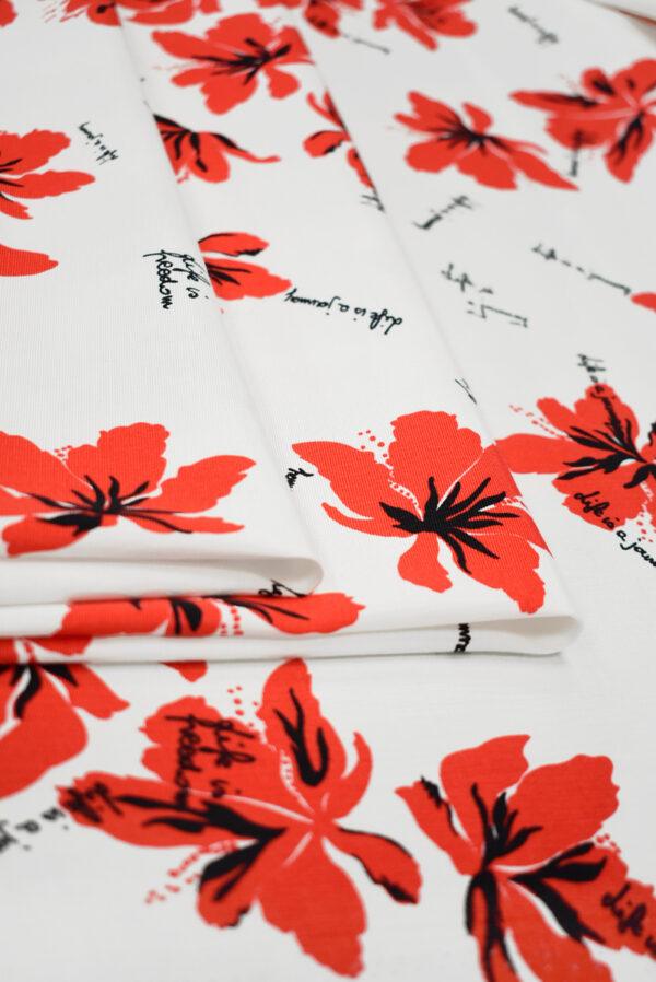 Репс стрейч белый с красными цветами (9644) - Фото 9
