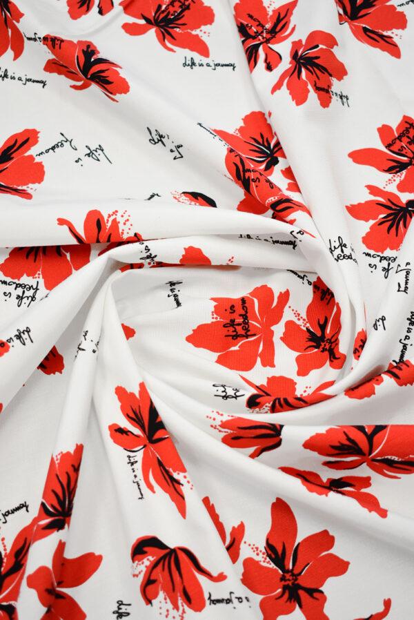 Репс стрейч белый с красными цветами (9644) - Фото 8