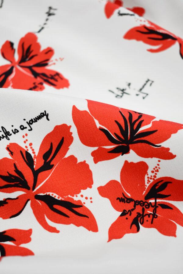 Репс стрейч белый с красными цветами (9644) - Фото 11