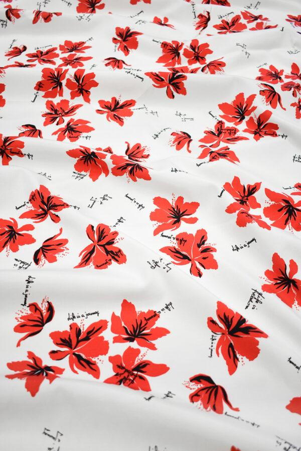 Репс стрейч белый с красными цветами (9644) - Фото 6