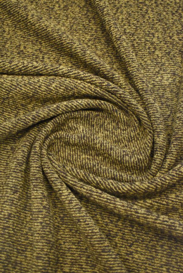 Трикотаж букле коричневый с бежевым меланж (9679) - Фото 7