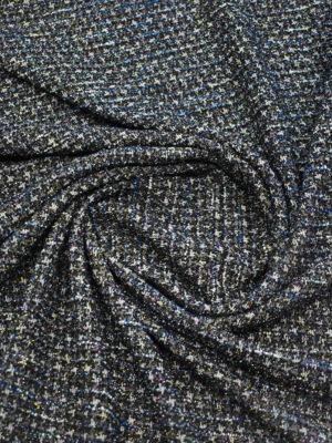 Трикотаж букле черный с серым и синим блестящий (9692) - Фото 17