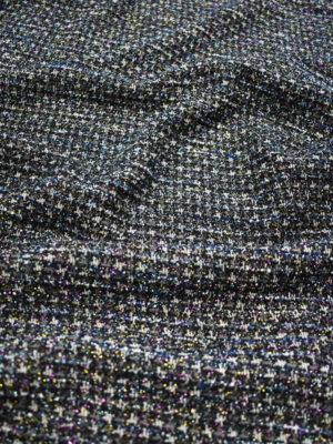 Трикотаж букле черный с серым и синим блестящий (9692) - Фото 16