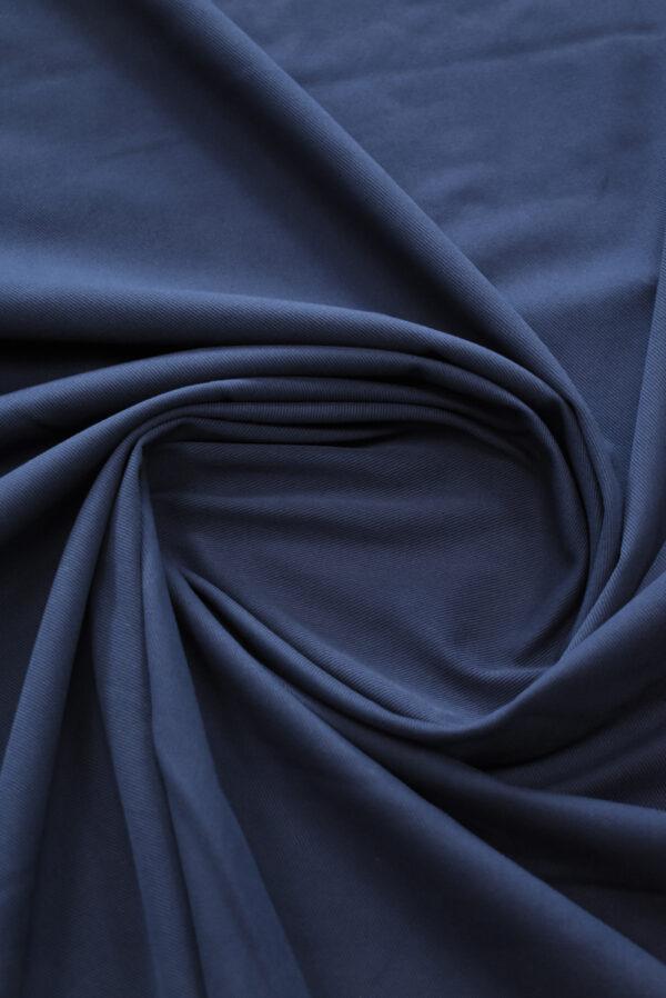 Костюмный хлопок стрейч темно-синий в рубчик (9701) - Фото 7