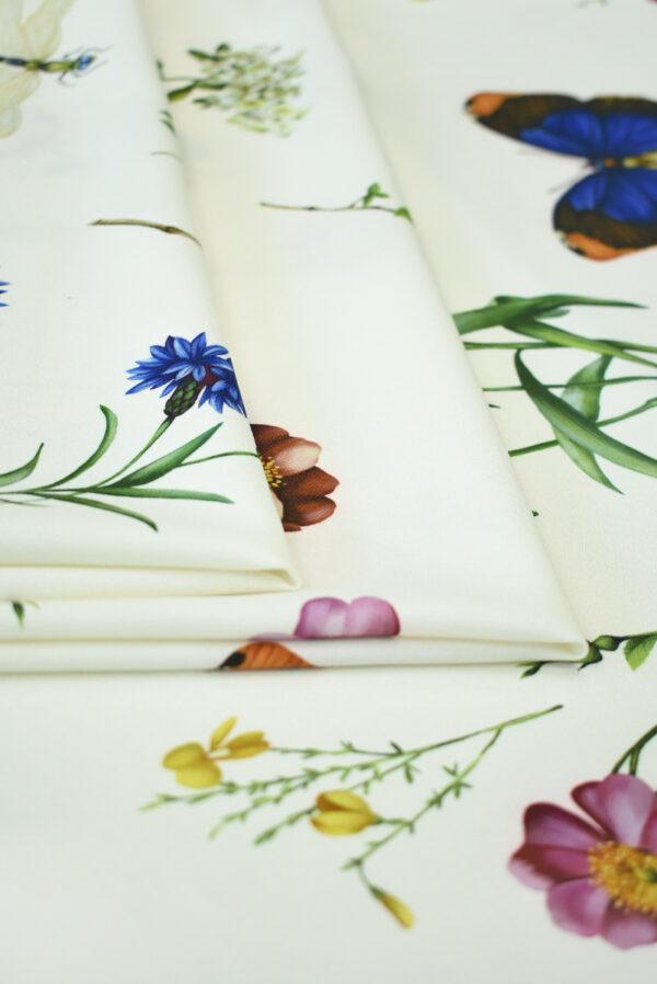 Креп молочный с цветами и бабочками (9728) - Фото 8