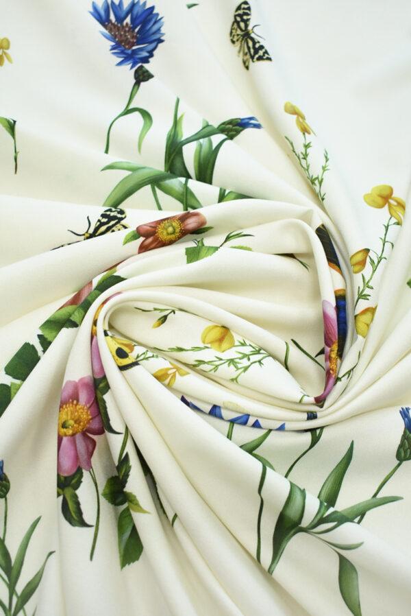 Креп молочный с цветами и бабочками (9728) - Фото 7