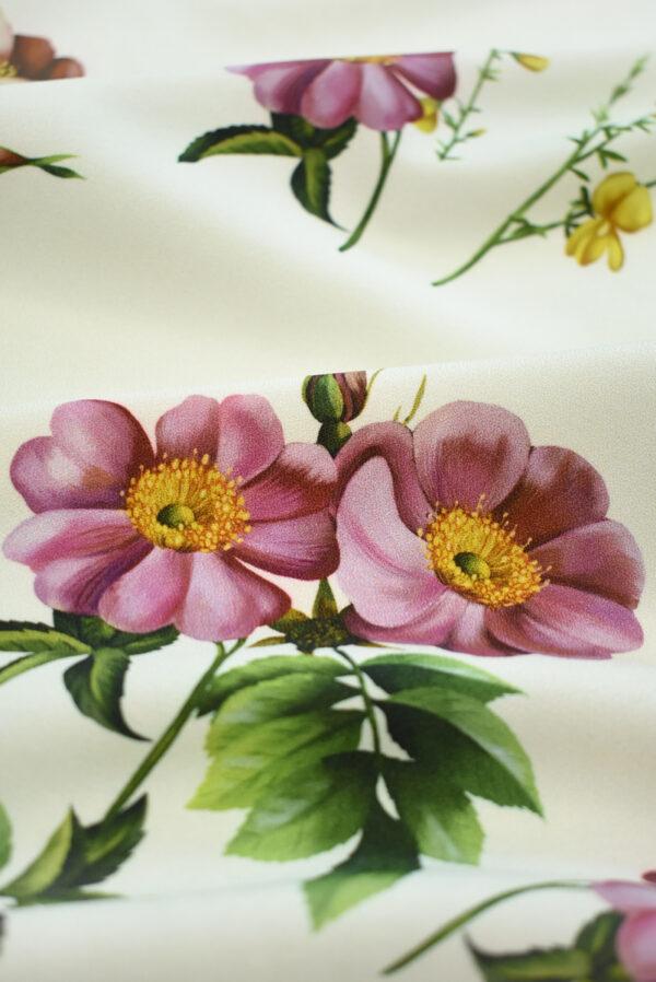 Креп молочный с цветами и бабочками (9728) - Фото 9