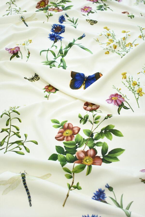 Креп молочный с цветами и бабочками (9728) - Фото 6