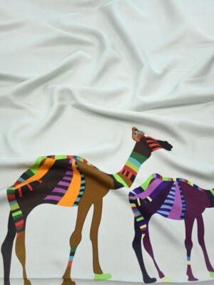 Шелк купон пастельно-голубой с верблюдами (9735) - Фото 14