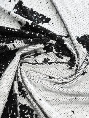 Пайетки двухсторонние черные с белым на трикотажной основе (9755) - Фото 9