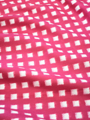 Твид розовый в белый квадрат (9783) - Фото 10