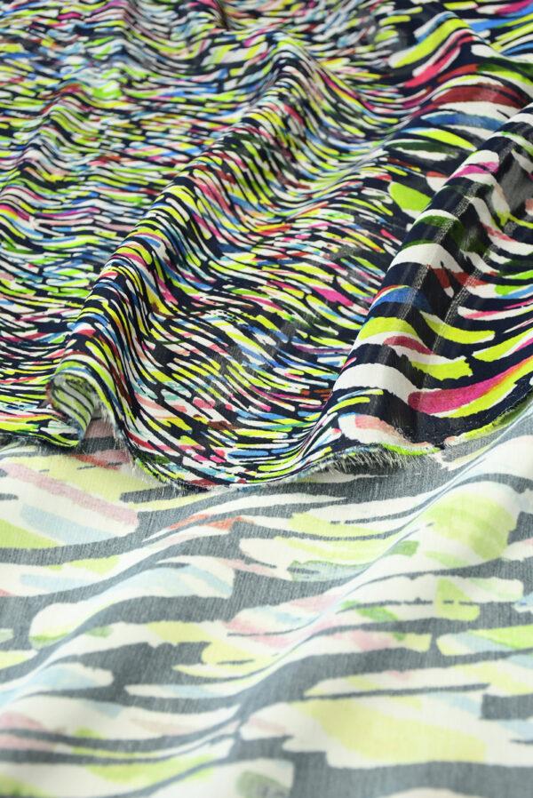 Органза купон с эффектом воды абстрактный разноцветный принт (4583) - Фото 8