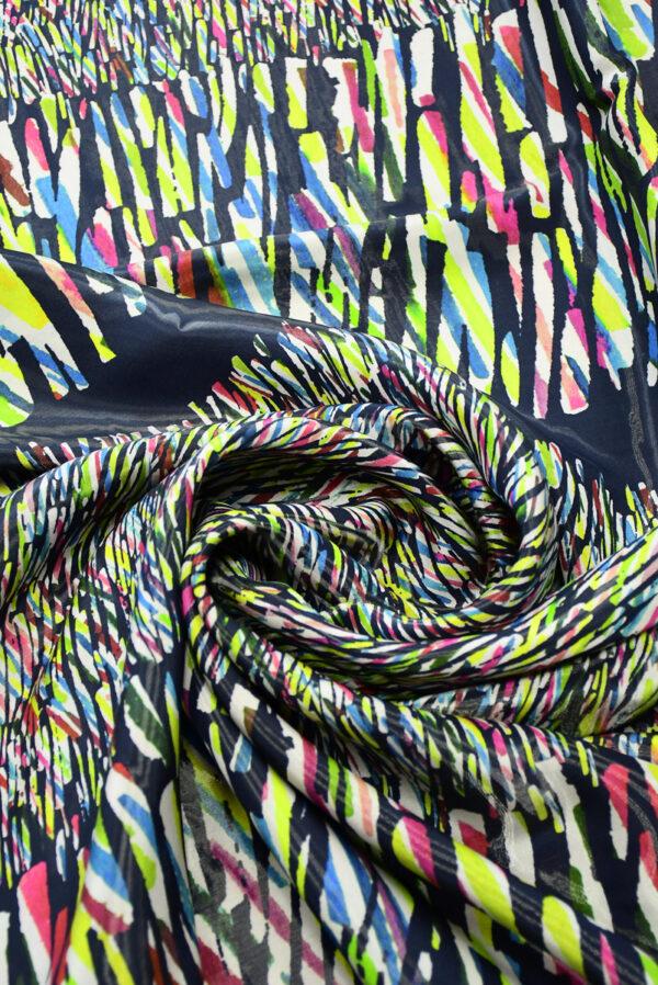 Органза купон с эффектом воды абстрактный разноцветный принт (4583) - Фото 7