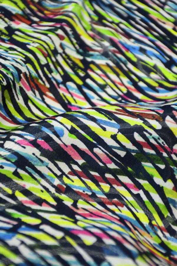 Органза купон с эффектом воды абстрактный разноцветный принт (4583) - Фото 10