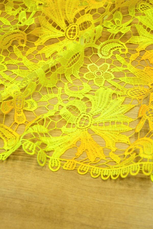 Кружево макраме желтые цветы и листья (4737) - Фото 8