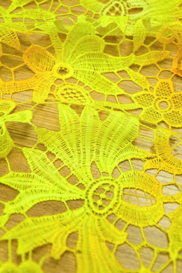 Кружево макраме желтые цветы и листья (4737) - Фото 7