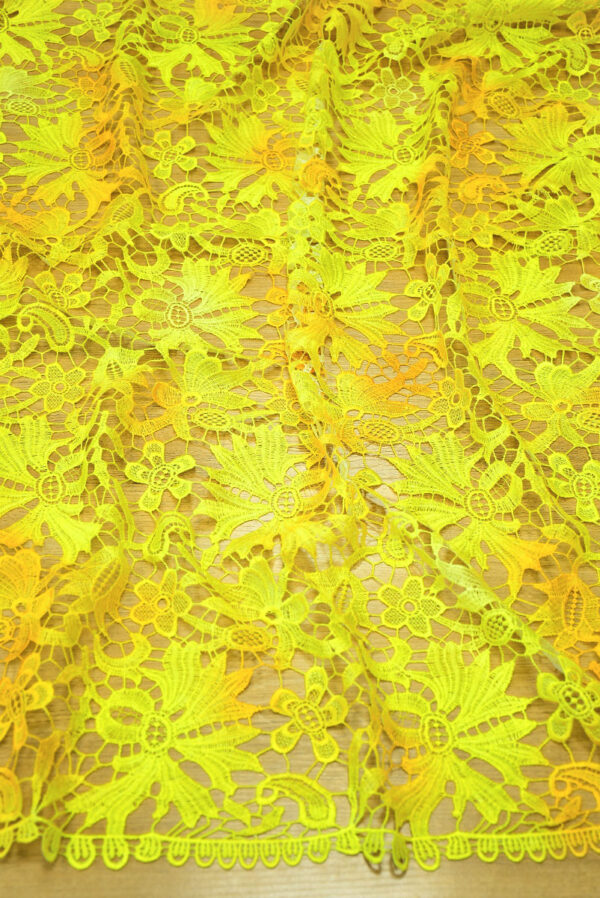 Кружево макраме желтые цветы и листья (4737) - Фото 6