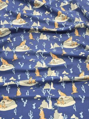 Трикотаж синего оттенка с сурикатами (9847) - Фото 18