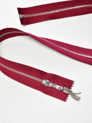 Молния разъемная цвета рубин с серебристыми зубьями и бегунком м4 (m1170) - Фото 11