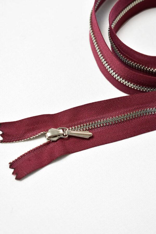 Молния разъемная бордо с серебристыми зубьями и бегунком 3м 60 см (m1191) - Фото 8