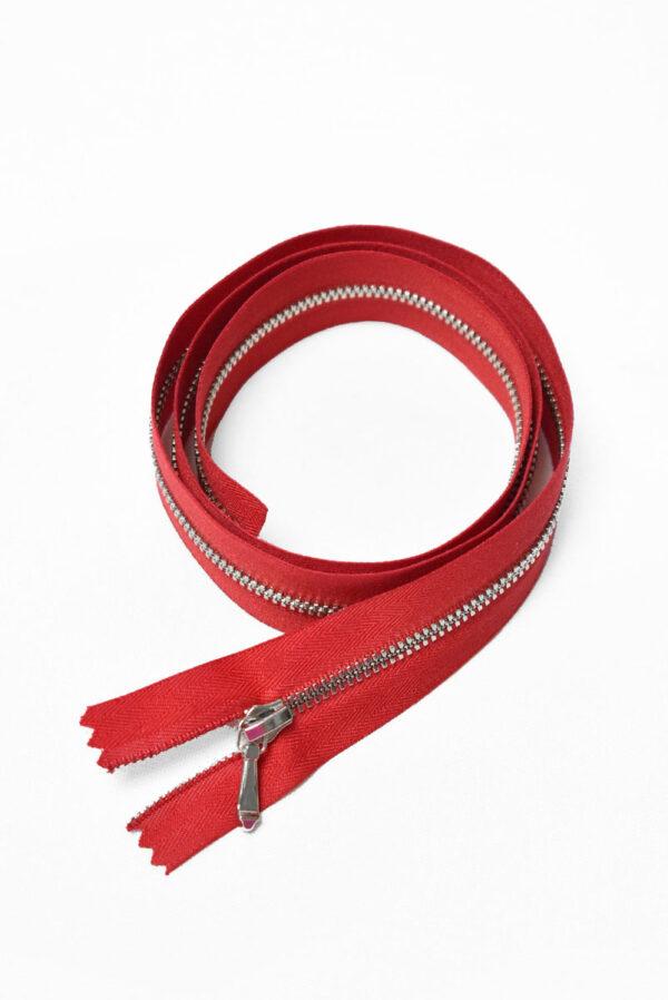 Молния разъемная красная с серебристыми зубьями и бегунком 3м 65 см (m1193) - Фото 6